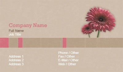Pink Gerbera Daisy Business Card Template